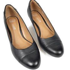 Clarks Flores Tulip Womens Sz 8.5 M Black Leather Wedge Heels Pumps