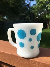 Vintage Fire King Blue Polka Dot D Handle Milk Glass Mug HTF