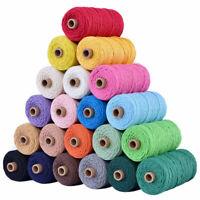 100M*2mm Cotton Twisted Cord Rope Artisan Macrame Braided String Craft DIY