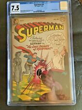 SUPERMAN #74 CGC VF- 7.5; OW-W; Luthor cover/story!