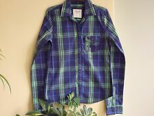 New Abercrombie Fitch Womens long sleeve Plaid Shirt size S $68 green blue