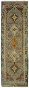 Gray Geometric Tribal Design 3X8 Handmade Oriental Rug Wool Farmhouse Carpet