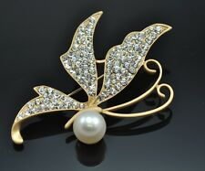 Freshwater Pearl  Rhinestone Gold Plated Butterfly Brooch Bridal Gift Boxed