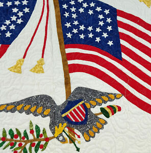 Hand Applique Patriotic Flag FINISHED WALL QUILT - 28, 29 & 30 star flags