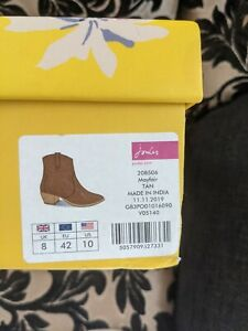 Joules Ladies Mayfair Tan Ankle Boots Brand New