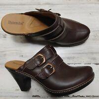 Bjorndal Juliana Brown Leather Side Buckle Clogs Heels Mule Shoes Women Size 8.5