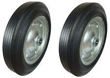 2 x 385mm HEAVY DUTY Black Rubber Tyred Wheels.Trolley/Truck/Cart*