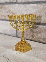 Menorah Hanukkah 7 Israel Brass Judaica Jewish Branch Candle Gold Plated Temple