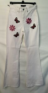 Genetic Denim Flare Jeans - White Floral Patches High Rise 70s Retro - Size 26