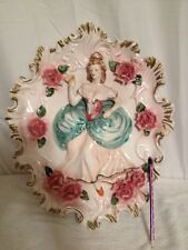Unique Vintage Large Campodimonte Victorian Lady Wall Hanging