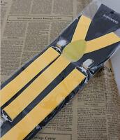 Mens Womens Elastic Clip-on Solid Color Y-Shape Adjustable Braces Suspenders TD