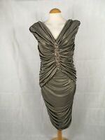 Ladies Dress Size 14 KALEIDOSCOPE Gold Shimmer Ruched Party Evening Wedding