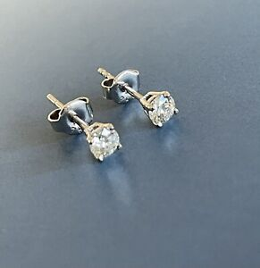 18ct White Gold Solitaire Diamond Earrings 0.50ct Studs 1/2ct Half Carat