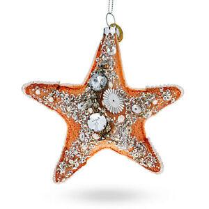 Glittered Starfish Glass Christmas Ornament