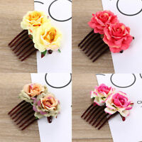 Women Double Silk Rose Flower Hair Comb Clip Wedding Bridal Party Beachy GIFT