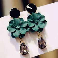 Dangle Drop Fashion Green Flower Earrings For Women Crystal Big Earring