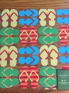 Lot of 6 Flip Flop Theme Dining Place Mats, Sonoma  Outdoors. Washable Vinyl