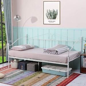 Metal Single Day Bed Frame Guest Sofa Bed Daybeds for Living Room Bed Room White