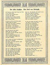 Der stille Lauscher Partiotisches Kriegs-Gedicht von Karl von Berlepsch c.1917
