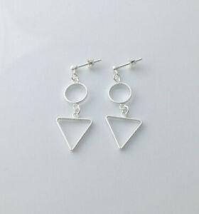 925 sterling silver circle triangle geometric stud dangle drop earrings