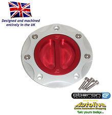 Oberon Performance Kawasaki Fuel/Gas/Race Cap Kit #FUE-0407-SILVER-RED