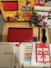 Nintendo 3DS XL RARE Special Edition Super Mario Bros 2 Red Console + Game & Plu