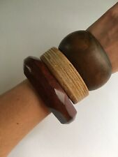 Wooden Bangle Bracelet Set