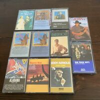 Country Cassettes Lot Of 11 Alabama Eddy Arnold Mark Chestnut Hits New & Used