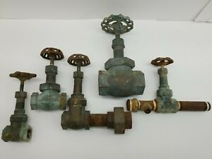 Lot Of 5 Large Heavy Old Brass Gate Valves- Lunkenheimer, Grinnell, And P&C CO.