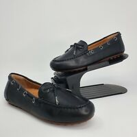 New Vionic Womens Virginia Leather Nubuck Slip On Loafers Moccasins Black Size 6