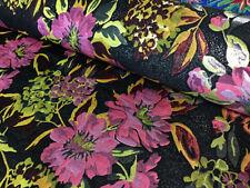 Chinese Brocade Fabric Floral Tropical Black Purple Silver Metallic Plum Green