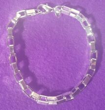 925 Silver Plated Chunky Square Chain Bracelet + Free Gift Bag