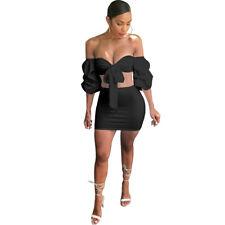 USA Women Summer Off  Shoulder 2PC Ruff Sleeve Tie-UP Sexy Club Wear Mini Dress
