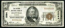 US Paper Money 1929 $50 National Danville IL #2584 NO RESERVE!