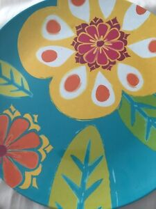 4 New Crate & Barrel Kate Spain Dinner Plates Floral plates