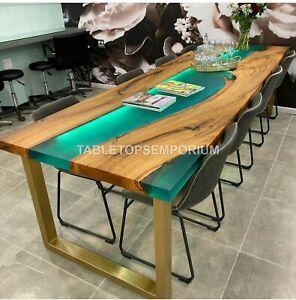 Green Resin Epoxy Handmade Dining Custom Table Top Wooden Handmade Furniture Art