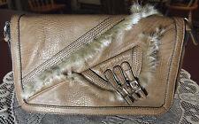 "Nicole Lee ""Fabiola"" Handbag Fur Trim Purse Taupe Shoulder Strap L. Brown"