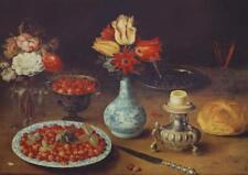 Vintage Classical Dark Still Life Osias Beert Flemish Fruits Fleurs Litho #S10