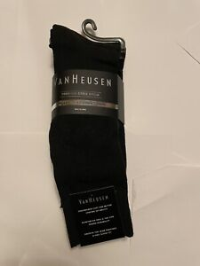 NWT Van Heusen Men's 4 Premium Dress Socks Size 10-13 Shoe 6-12.5 in Black New