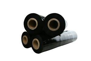 4 ROLLS BLACK Pallet Film Wrap 500MM x 400M  25U Black PALLET WRAP Shrink Wrap