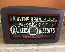 Vintage T. Ovens Branch U.S. Baking Co Crackers  Biscuits Tin Container Craft