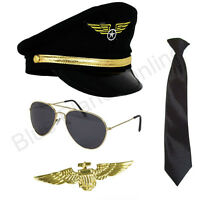 Pilot Aviator Captain Hat Tie Sunglasses Gold Badge Fancy Dress 1980s Costume