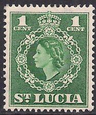 St Lucia 1953 - 63 QE2 1ct Green MM SG 172 ( L1131 )