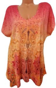 Oneworld pink orange paisley print v neck short sleeve plus top 1X