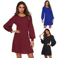 Women Long Sleeve Above Knee Mini Dress Solid  New Style Party Dress Sundress