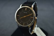 Bulova Classic Ultra-Slim Black Leather Strap Men's Watch 98A167