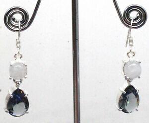 925 Sterling Silver Alexandrite & Moonstone Gemstone Jewelry Earrings Size-1.80