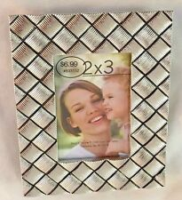 """Silvertone 4X5"""" Plaid Picture Frame Holds 2X3"""" Photo"""