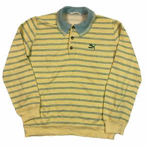 Vintage 80s Puma Polo Shirt Stripe Green Yellow Medium