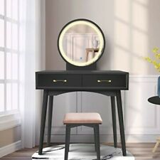 Vanity Table Set with Lighted LED Touch Screen Dimming Mirror for Makeup-Black